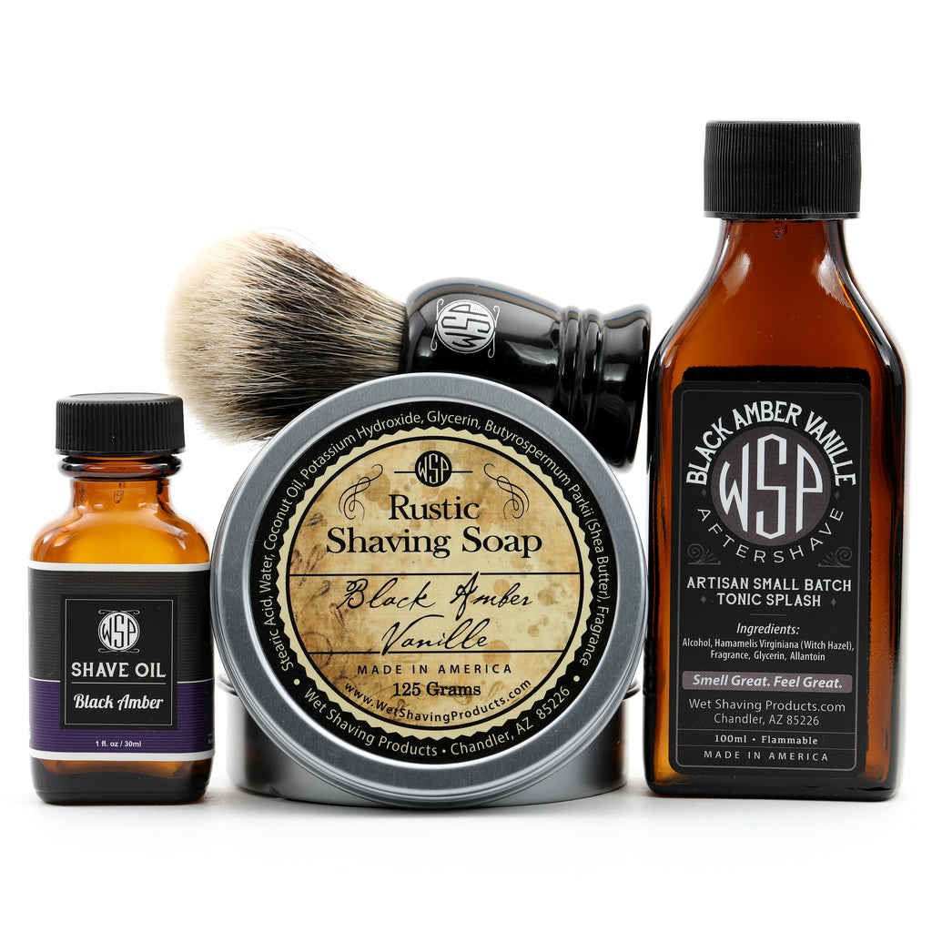 "Full Size Wet Shaving Kit (Pre-Shave Oil, ""Prince"" Brush, 4.4 oz Shave Soap, 100 ml Aftershave) Black Amber Vanille Scent"