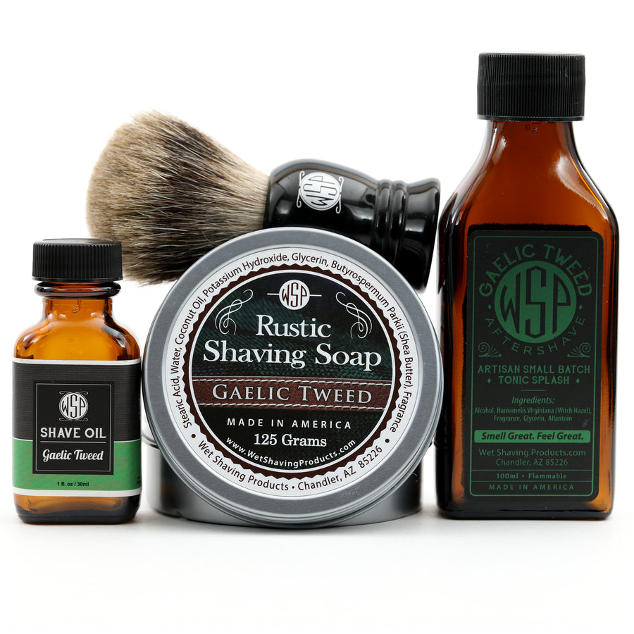 Full Size Wet Shaving Kit (Pre-Shave Oil,
