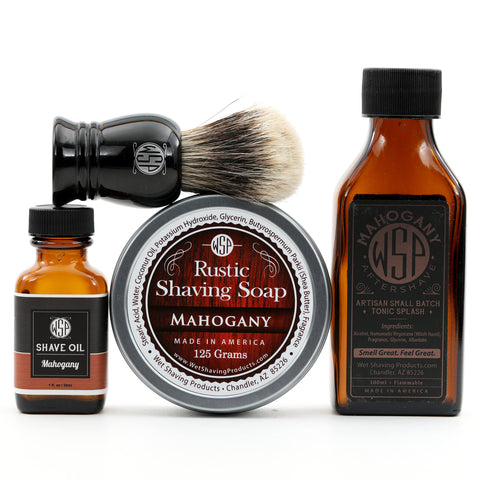 "Full Size Wet Shaving Kit (Pre-Shave Oil, ""Prince"" Brush, 4.4 oz Shave Soap, 100 ml Aftershave) Mahogany Scent"