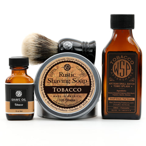 "Full Size Wet Shaving Kit (Pre-Shave Oil, ""Prince"" Brush, 4.4 oz Shave Soap, 100 ml Aftershave) Tobacco Scent"