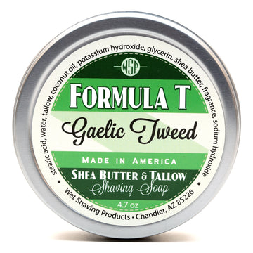 Formula T Shaving Soap 4.7 oz Made with Shea Butter & Tallow (Gaelic Tweed)