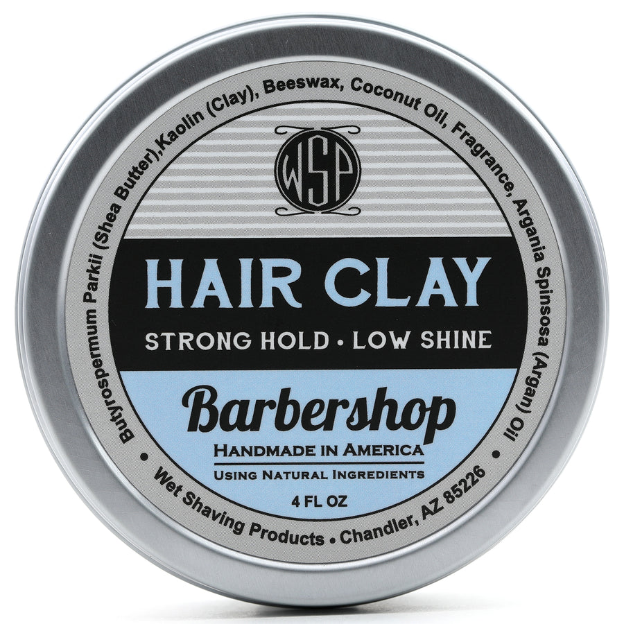 Hair Clay (Barbershop) 4 oz Natural Wax Based Pomade Natural & Vegetarian