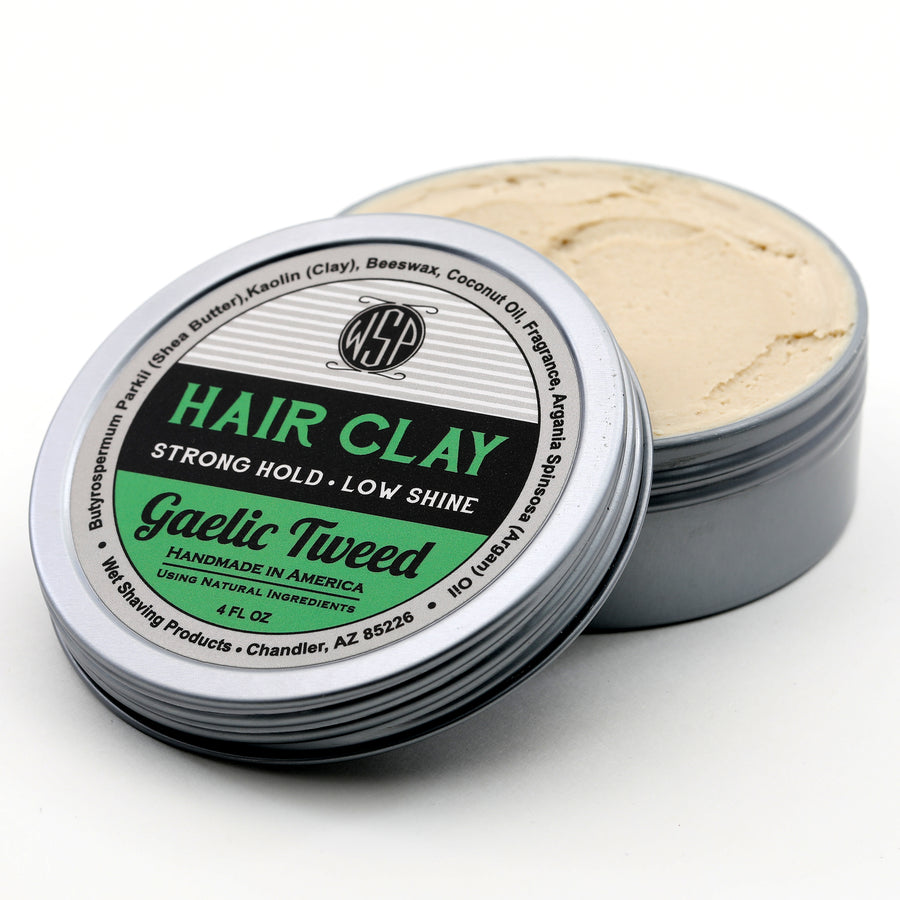 Hair Clay (Gaelic Tweed) 4 oz Natural Wax Based Pomade Natural & Vegetarian