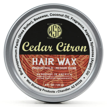 Hair Wax (Balm) - 4 oz Petroleum Free Pomade Natural & Vegetarian (Cedar Citron) 100% Natural