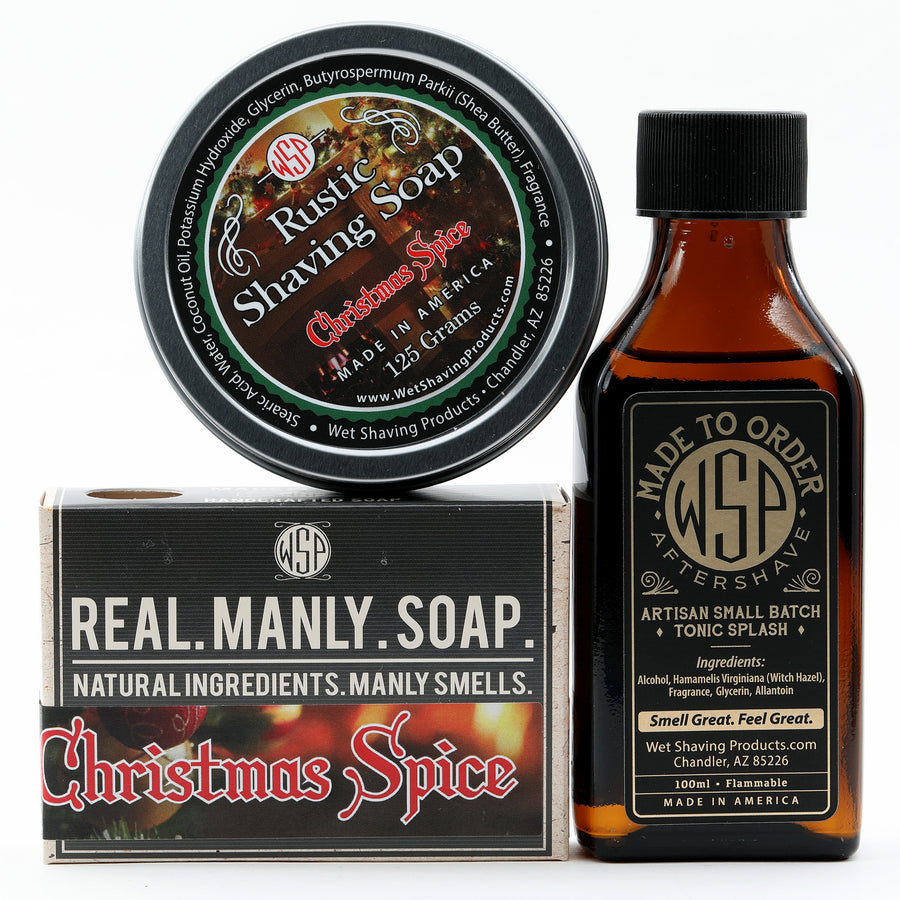 Limited Edition (Christmas Spice) - Rustic Fragrance Set (Bar Soap, Soap, & Aftershave)