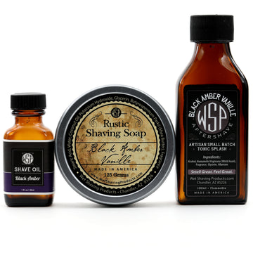 Rustic Fragrance Set (Pre Shave, Soap, & Aftershave) (Black Amber Vanille)