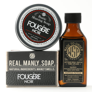 Limited Edition - Fougere Noir - Rustic Fragrance Set (Bar Soap, Rustic Shave Soap, & Aftershave)