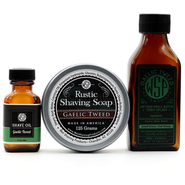 Rustic Fragrance Set (Pre Shave, Soap, & Aftershave) (Gaelic Tweed)