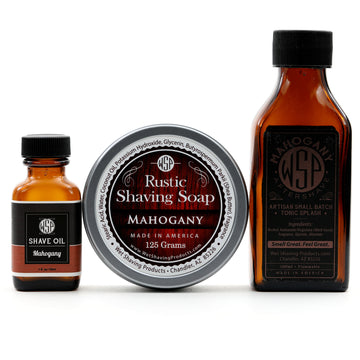 Rustic Fragrance Set (Pre Shave, Soap, & Aftershave) (Mahogany)