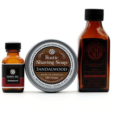Rustic Fragrance Set (Pre Shave, Soap, & Aftershave) (Sandalwood)