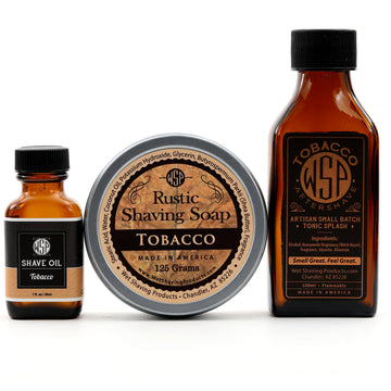 Rustic Fragrance Set (Pre Shave, Soap, & Aftershave) (Tobacco)
