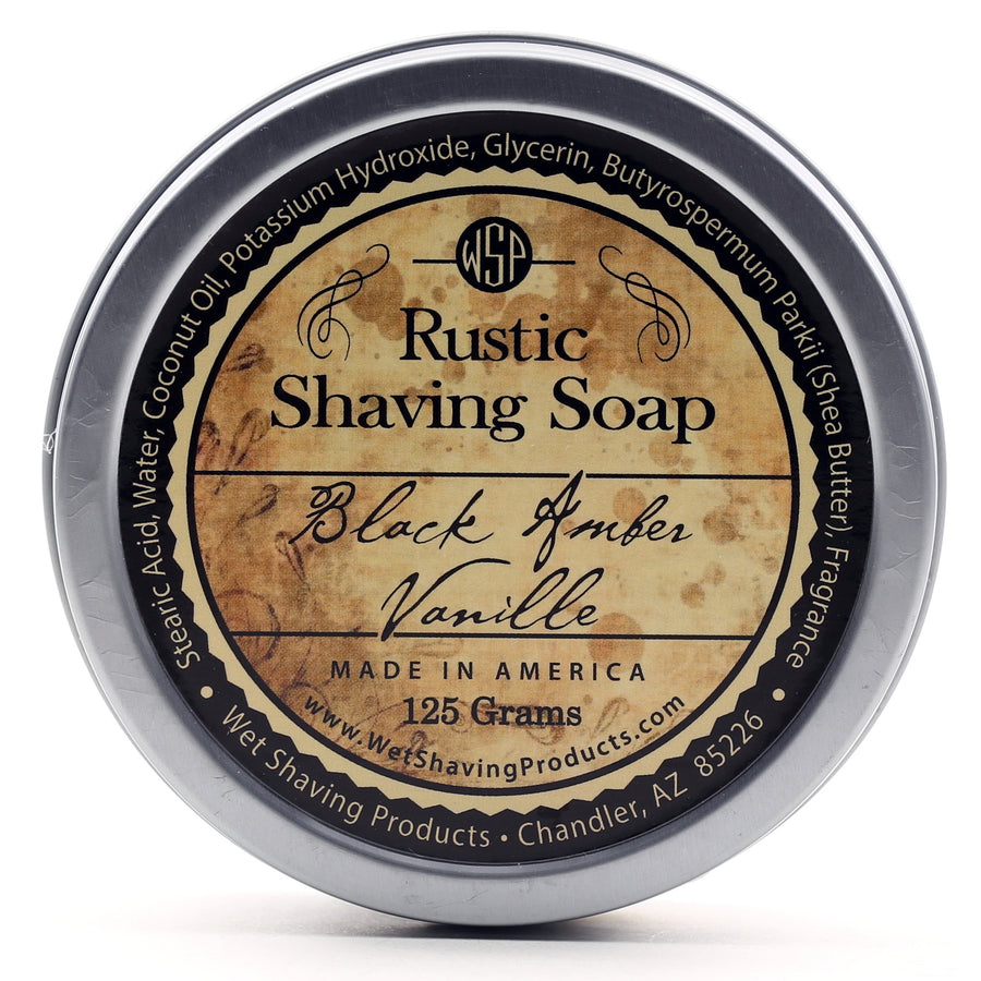 Rustic Shaving Soap Vegan & All Natural 4.4 oz; 125 g (Black Amber Vanille)
