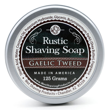 Rustic Shaving Soap Vegan & All Natural 4.4 oz; 125 g (Gaelic Tweed)
