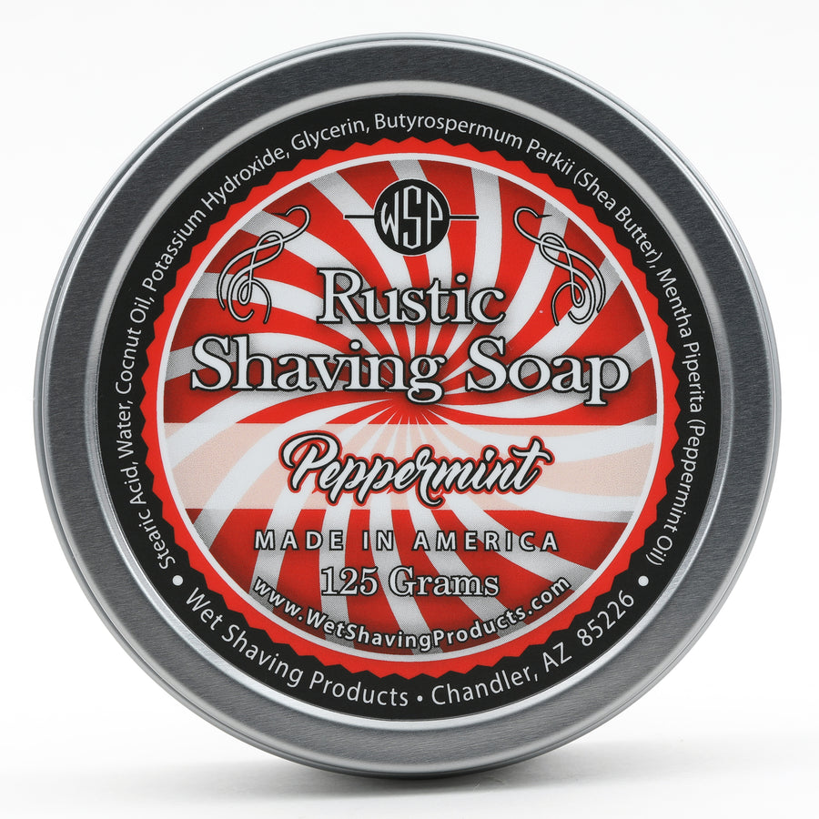 Limited Edition Rustic Shaving Soap Vegan & All Natural 4.4 oz; 125 g (Peppermint) 100% Natural