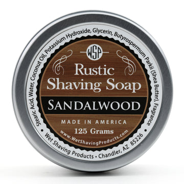 Rustic Shaving Soap Vegan & All Natural 4.4 oz; 125 g (Sandalwood)