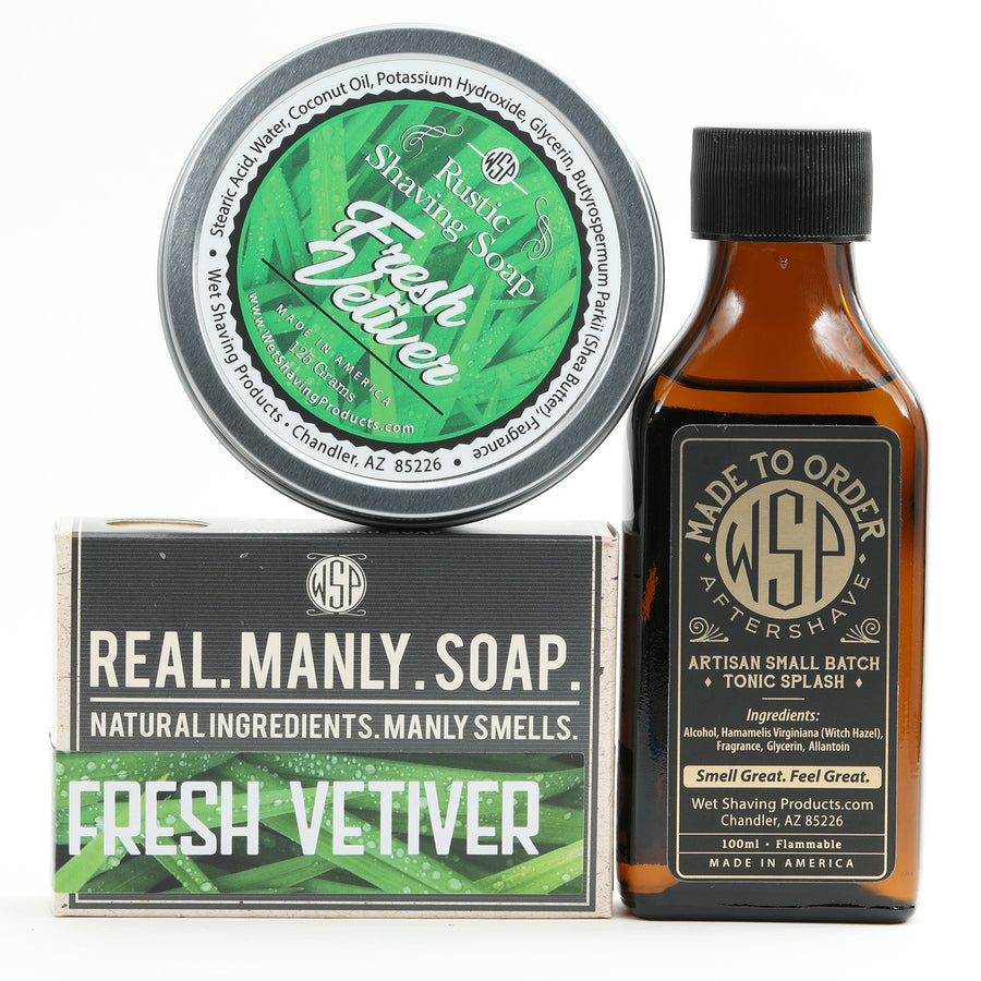 Limited Edition - Fresh Vetiver - Rustic Fragrance Set (Bar Soap, Rustic Shave Soap, & Aftershave)