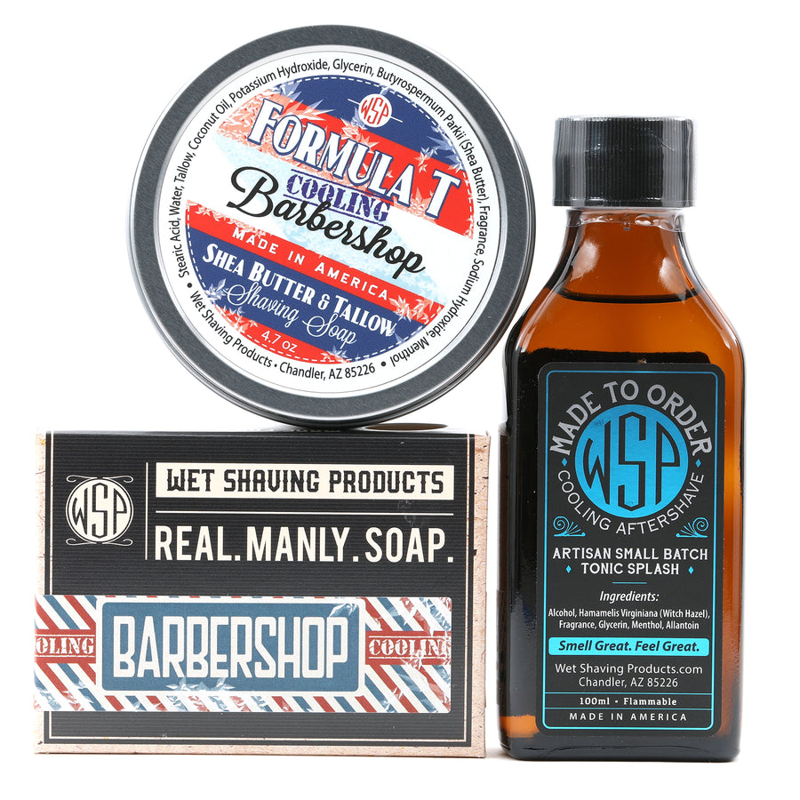 Limited Edition - Cooling Barbershop - Formula T Fragrance Set (Bar Soap, Shave Soap, & Aftershave)