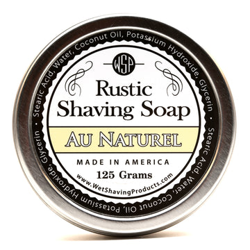Unscented for Sensitive Skin Rustic Shaving Soap Vegan & All Natural 4.4 oz; 125 g (Au Naturel)