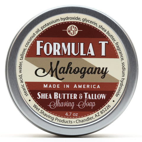 Formula T Shaving Soap 4.7 oz Made with Shea Butter & Tallow (Mahogany)