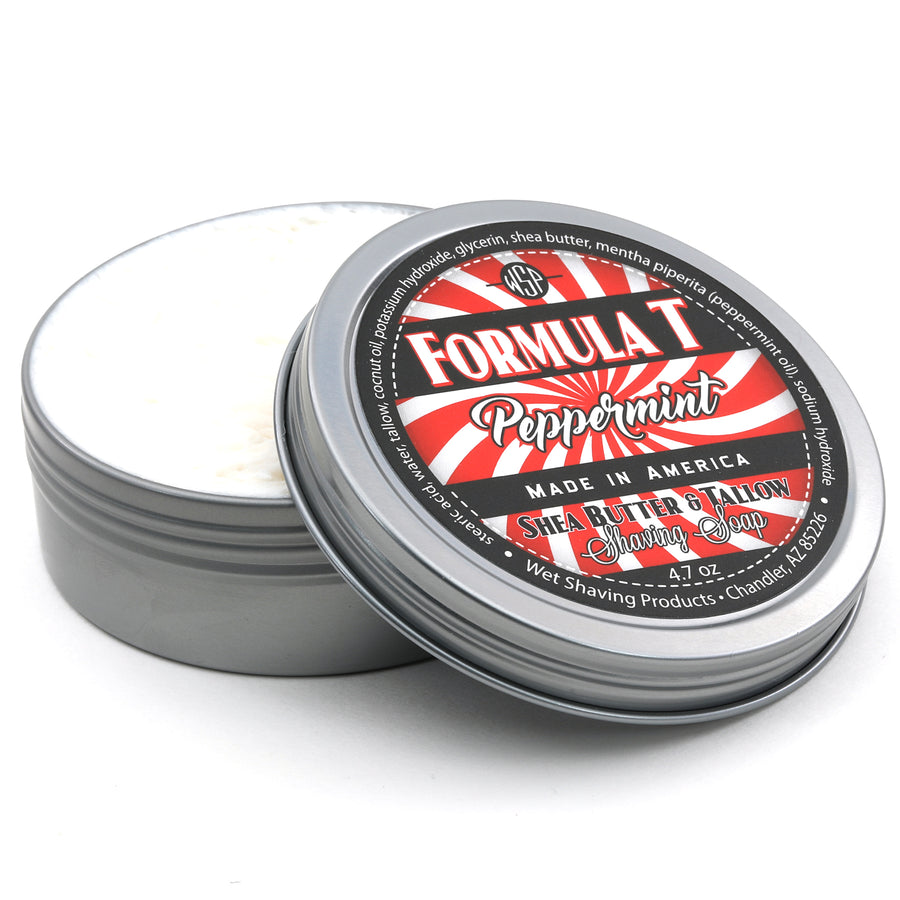 Limited Edition (Peppermint) Formula T Shaving Soap 4 fl oz Made with Shea Butter & Tallow 100% Natural