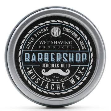 Mustache Wax Hercules Hold by WSP - 1 oz (Barbershop) Natural & Vegetarian