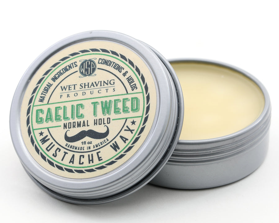Mustache Wax Regular Hold by WSP - 1 oz (Gaelic Tweed) Natural & Vegetarian