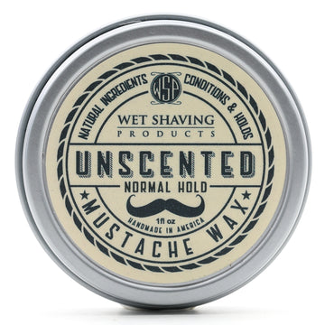 Mustache Wax Regular Hold by WSP - 1 oz (Unscented) Natural & Vegetarian