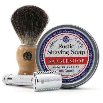 Wet Shaving Starter Kit (Badger Brush, Rustic Shave Soap 4 oz, & Safety Razor)