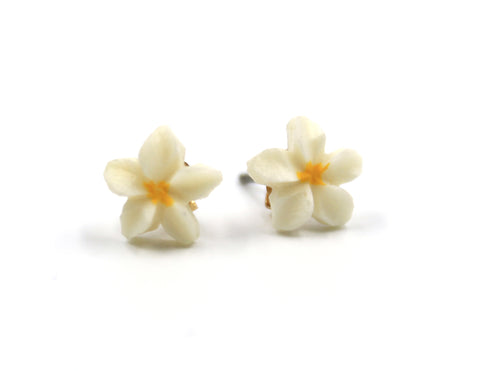 Vintage Plumeria Button Earrings