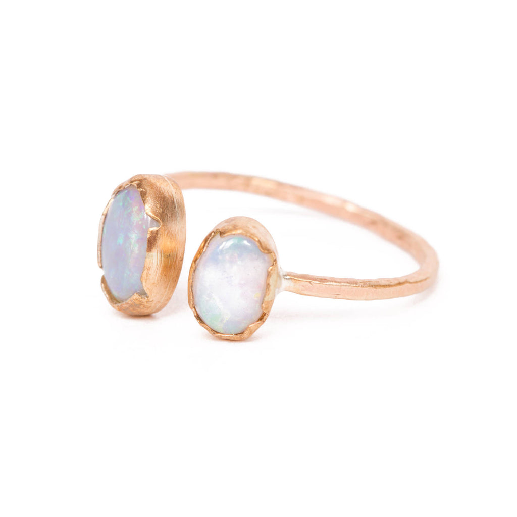 Handmade Double Opal Ring