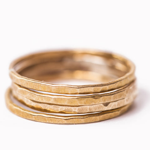Handmade Hammered Band Ring Set