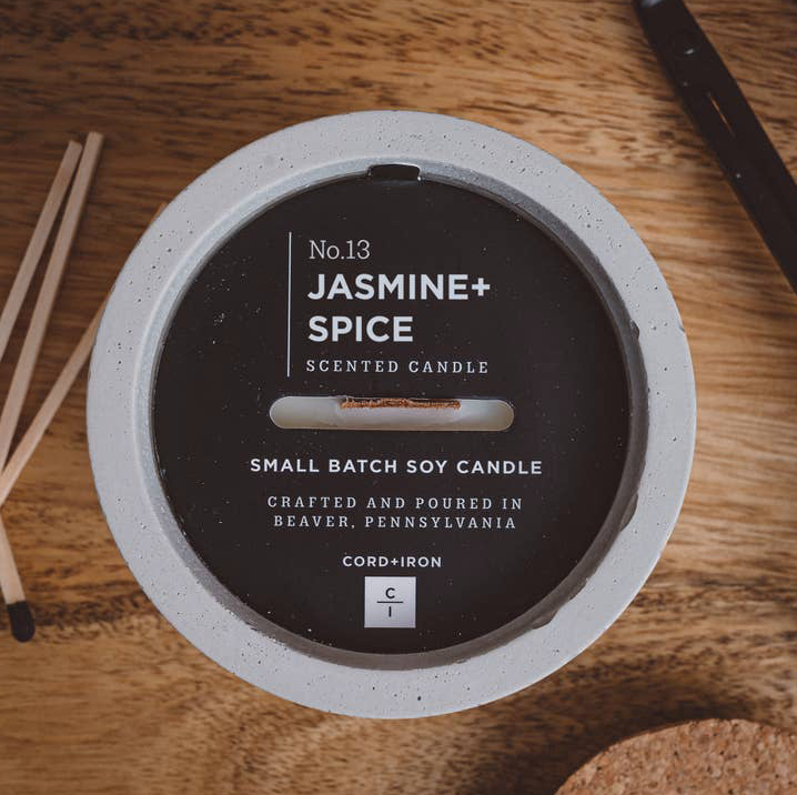 Jasmine + Spice - Cement Candle - Natural