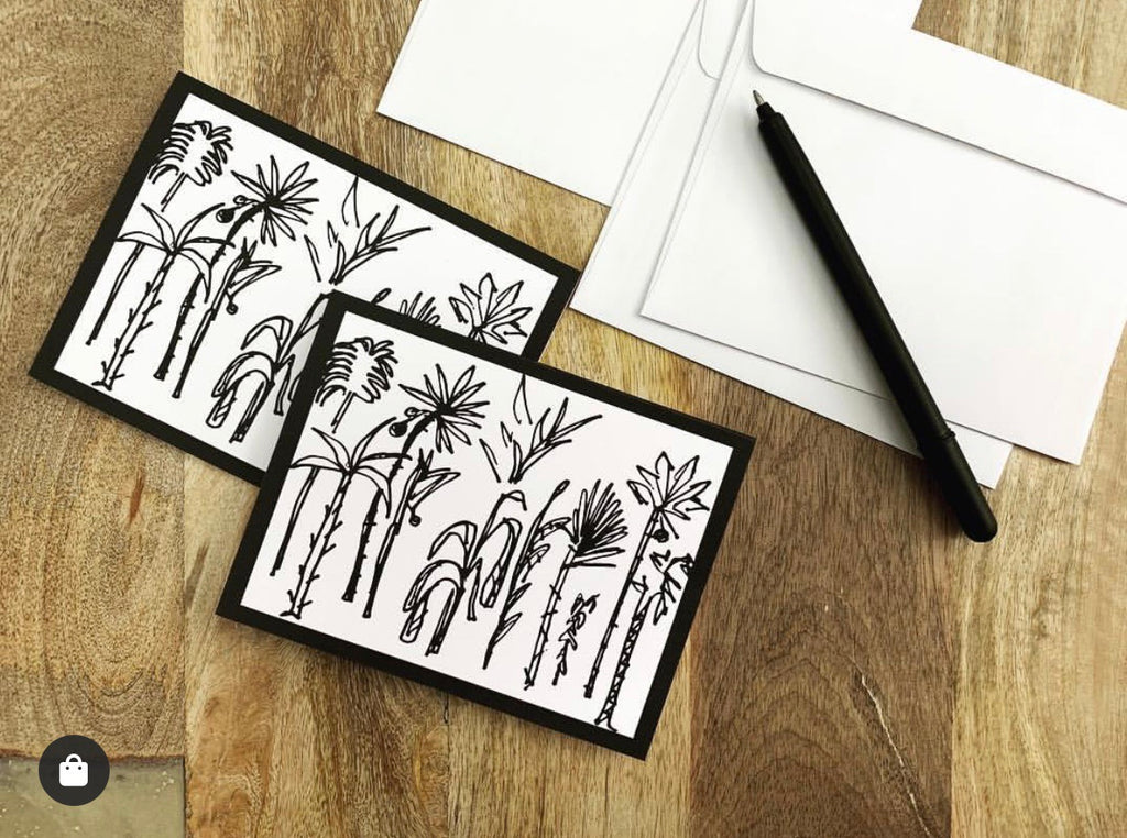 Palm Palm linen Notecards