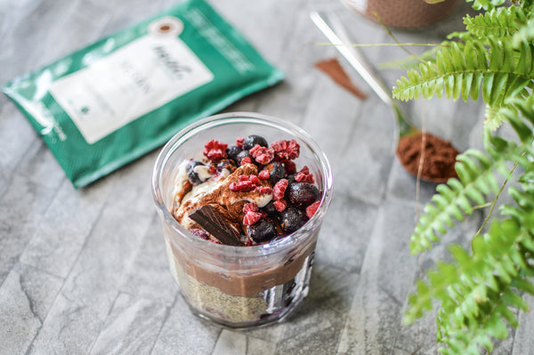 Vegan, High Protein, Chocolate and Berry Breakfast Jar