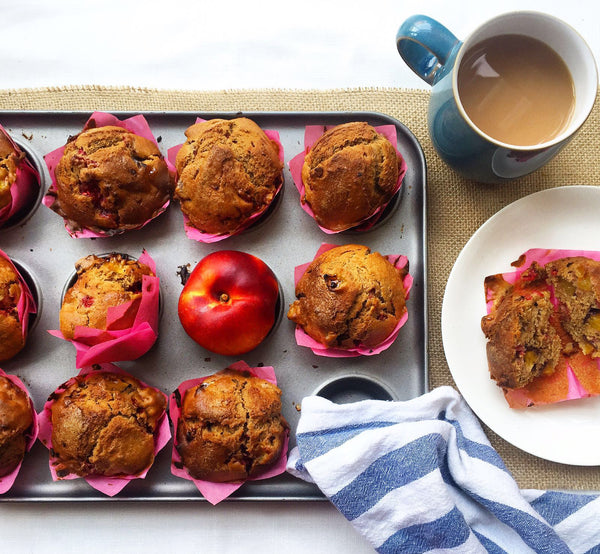 Spiced Peach and Raspberry Protein Muffins