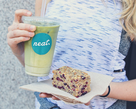 Iced Matcha and Flapjack at The Neat Cafe | Neat Nutrition. Clean, Simple, No-Nonsense.