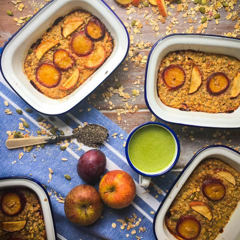 Baked Apple and Plum Protein Oats Recipe | Neat Nutrition. Clean, Simple, No-Nonsense.