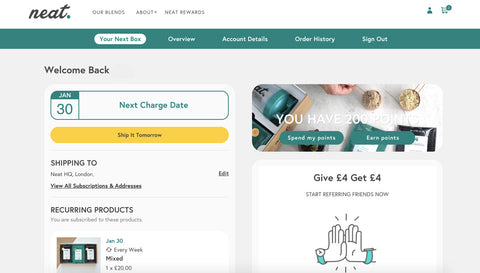 Neat Nutrition Customer Portal Changes