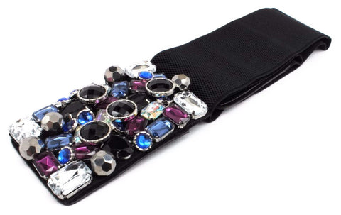 Embellished Leather Belt-Blue