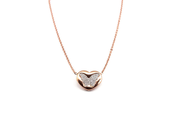 Butterfly In Heart Rose Gold Necklace