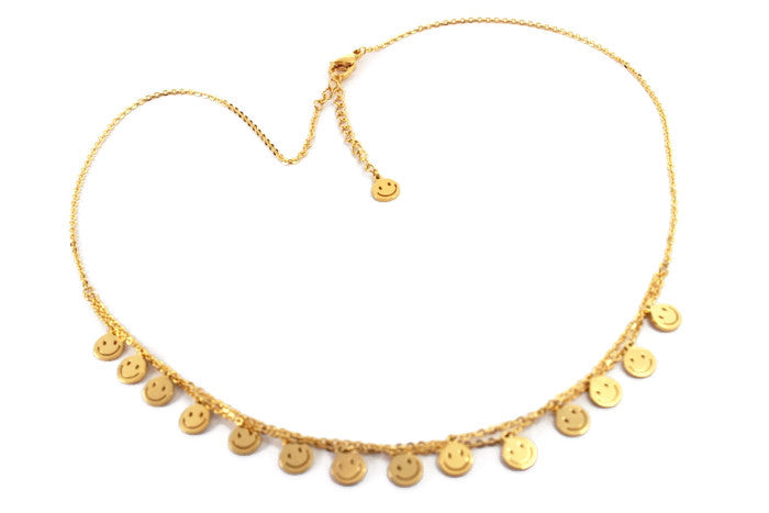 Gold Smilely Faces Necklace