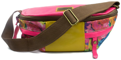 Pink Floral Leather Sling Bag