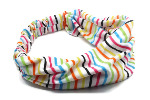 White Multi Color Striped Headband