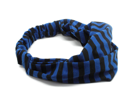 Black & Navy Blue Striped Headband