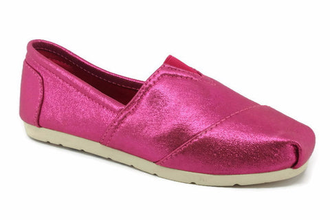 Metallic Pink Canvas Flat Shoes