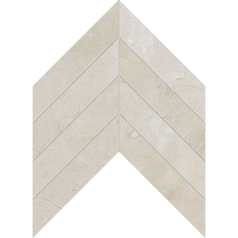 Crema Marfil Honed Chevron Marble Waterjet Decos 13x10