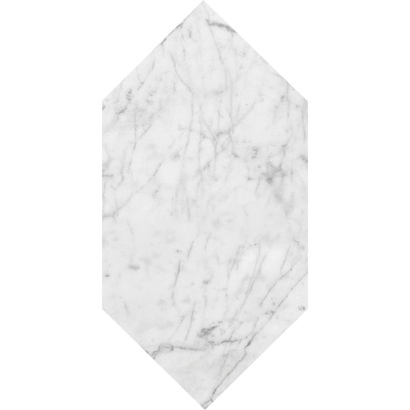 White Carrara C Polished Large Picket Marble Waterjet Decos 6x12