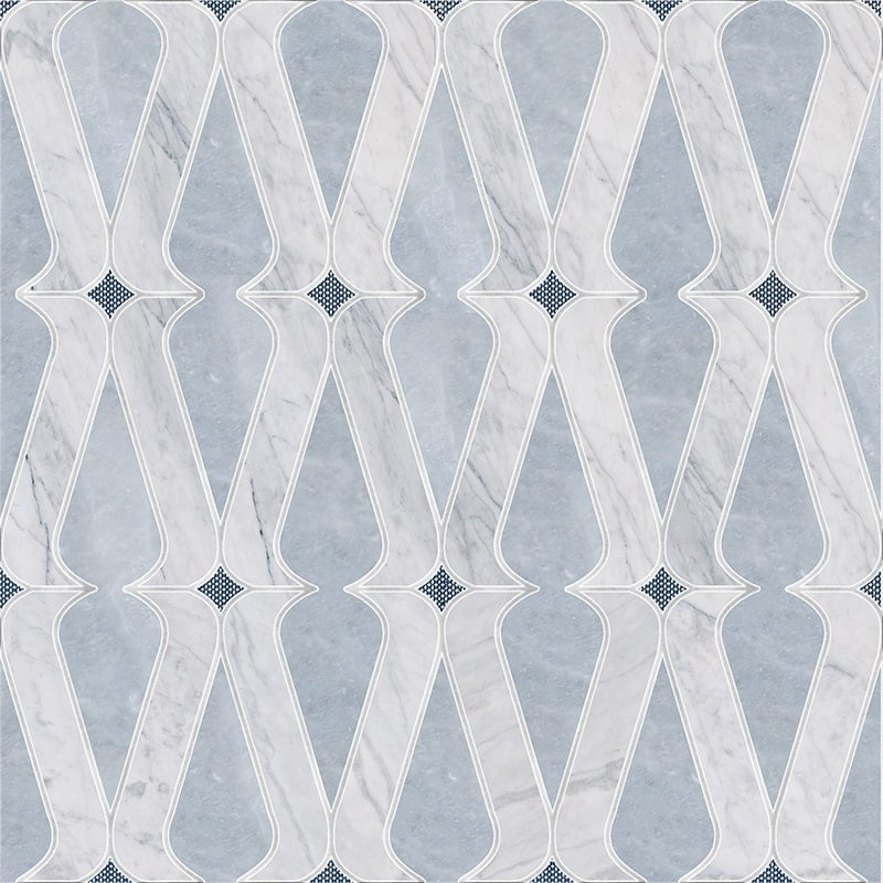 Allure Light, Avenza, Indigo Ottoman Tex Multi Finish Linon Marble Waterjet Decos 8 1/4x12 11/32
