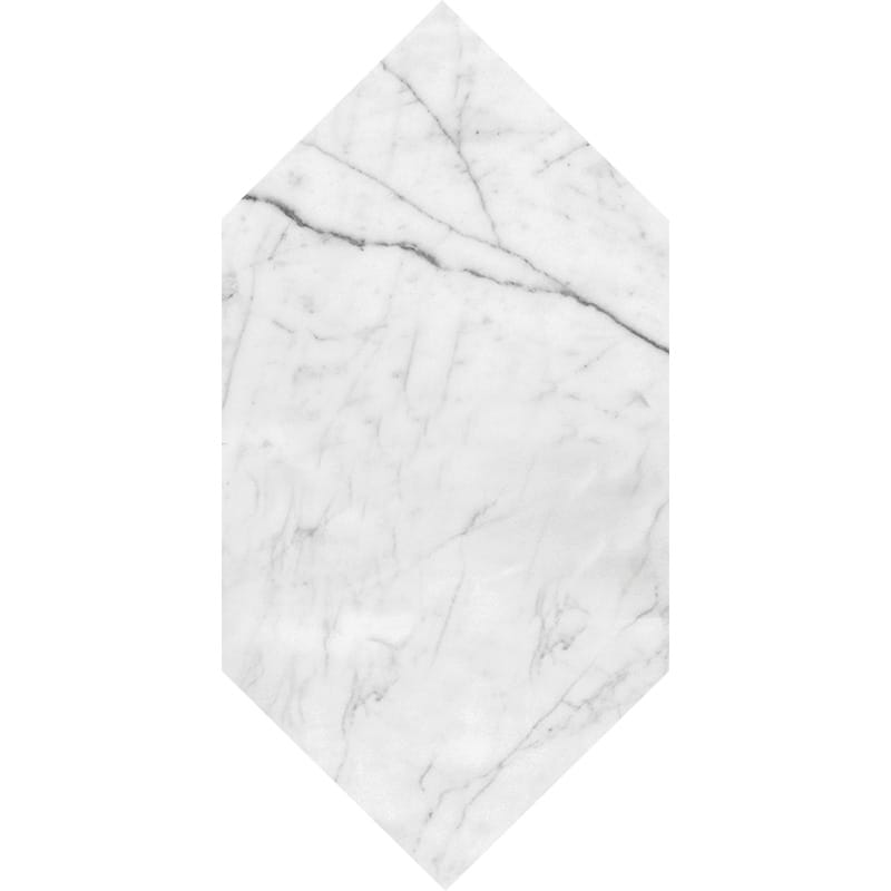 White Carrara C Honed Large Picket Marble Waterjet Decos 6x12