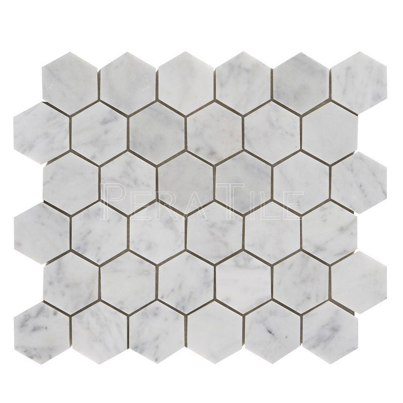 Bianco Carrara 2″ Honed Hexagon Mosaic
